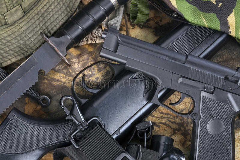 Guns - Weapons - Hunting. Guns and weapons - Used by hunters, the police, the military and violent criminals royalty free stock photo