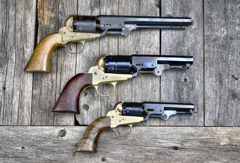 Guns that won the West. Cowboy guns that won the wild west stock photography