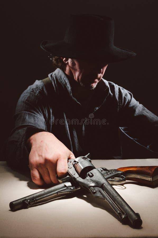 Gunslinger ocidental selvagem imagens de stock
