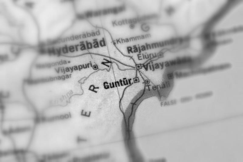 Guntur, a city in India. Guntur, a city in the Republic of India selective black and white focus stock photography