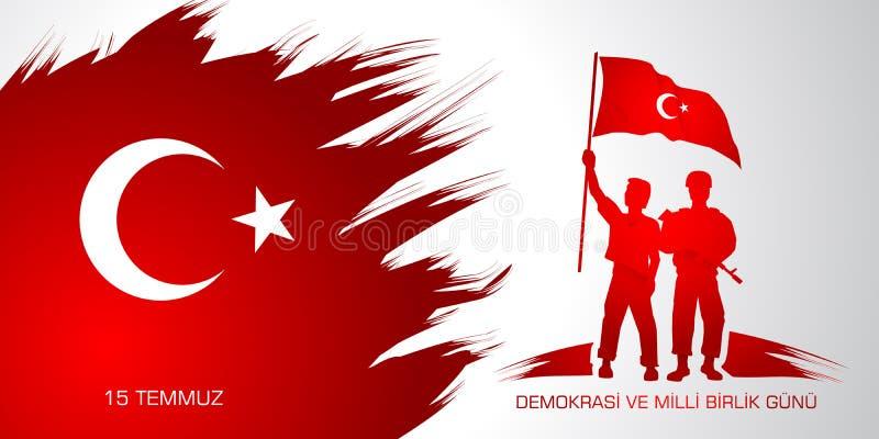15 gunu milli Temmuz Demokrasi VE birlik Μετάφραση από τον Τούρκο: Στις 15 Ιουλίου η δημοκρατία και η εθνική ημέρα ενότητας απεικόνιση αποθεμάτων