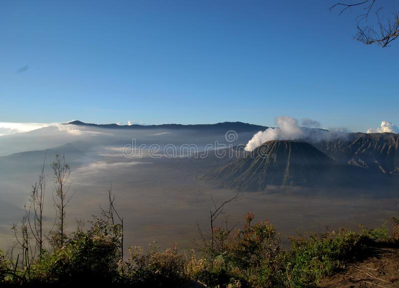 Gunung Bromo, Java, Indonesia. Mount Bromo from a scenic vantage point. Taken just after sunrise royalty free stock image