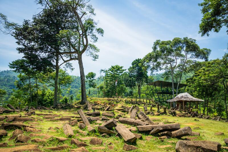 Gunung Padang Megalithic Site in Cianjur, Java island, Indonesia. Gunung Padang is the largest megalithic site in all of Southeastern Asia royalty free stock photos
