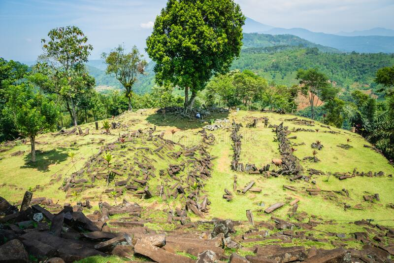 Gunung Padang Megalithic Site in Cianjur, Java island, Indonesia. Gunung Padang is the largest megalithic site in all of Southeastern Asia royalty free stock image