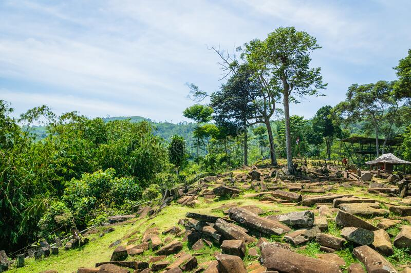 Gunung Padang Megalithic Site in Cianjur, Java island, Indonesia. Gunung Padang is the largest megalithic site in all of Southeastern Asia stock photos