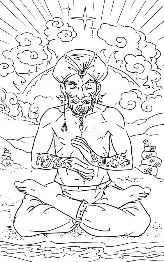Gurú de Yog stock de ilustración