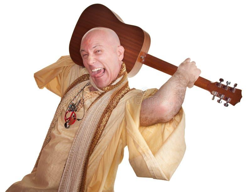 Gurú loco con la guitarra foto de archivo libre de regalías
