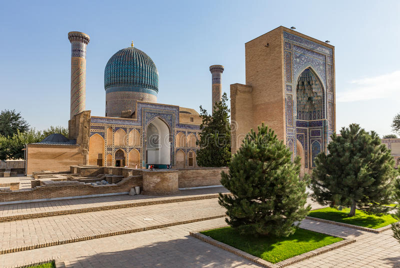 Gur-E贵族陵墓,在撒马而罕,乌兹别克斯坦 库存图片