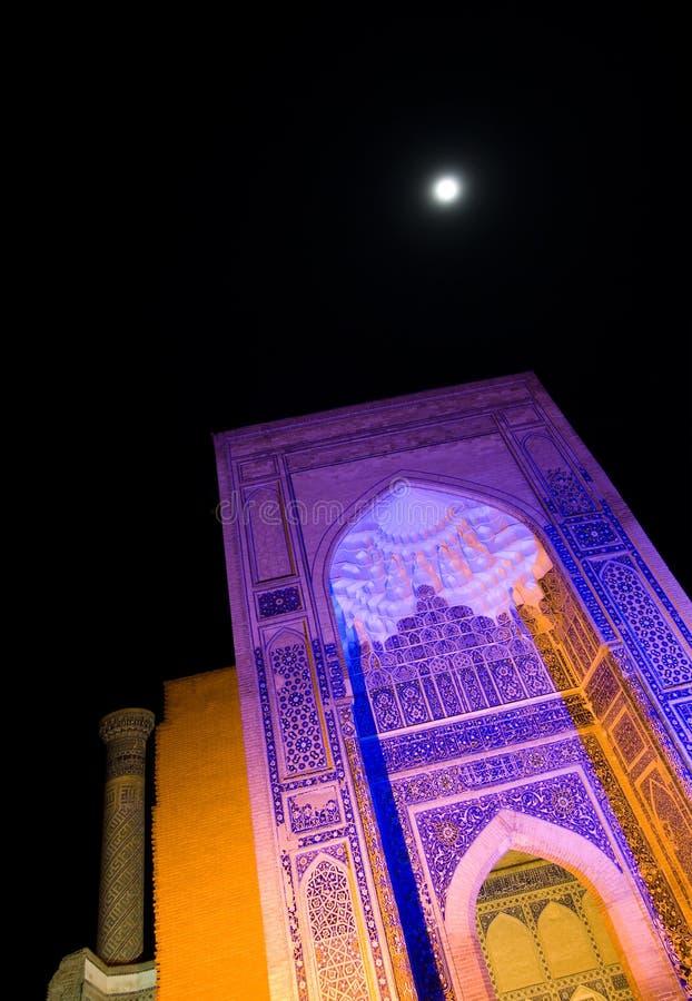 Gur Emira Mauzoleum przy noc obraz stock