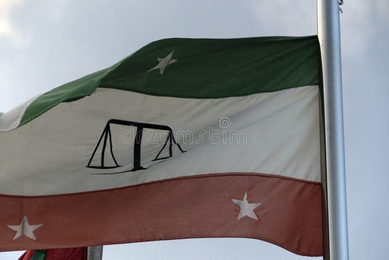 Guraidhoo Maldives atolu sprawiedliwości sali Męska flaga obrazy royalty free
