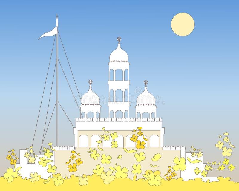 Gurdwara blanco stock de ilustración