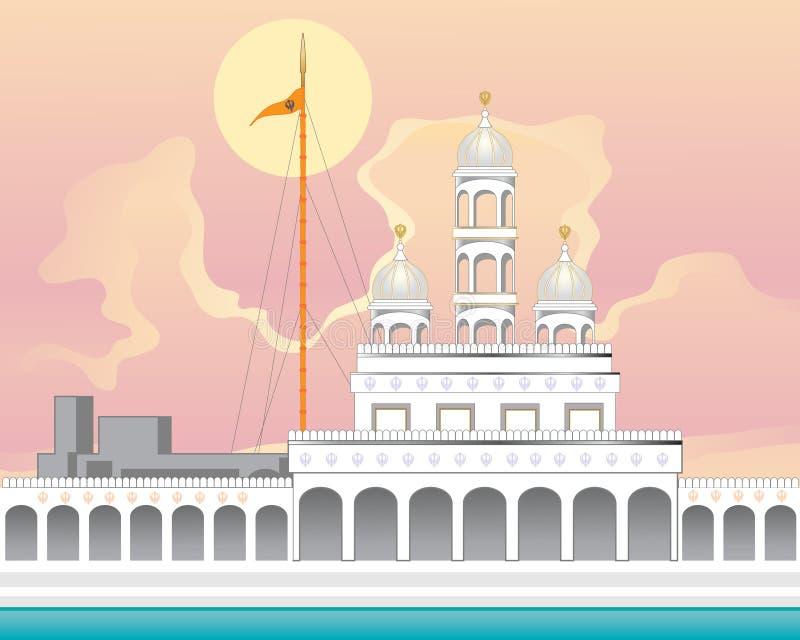 Gurdwara con salida del sol stock de ilustración