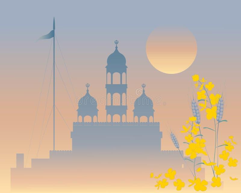 Gurdwara de la tarde ilustración del vector