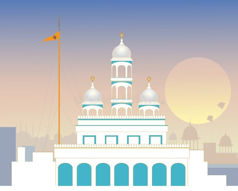 Gurdwara urbano stock de ilustración