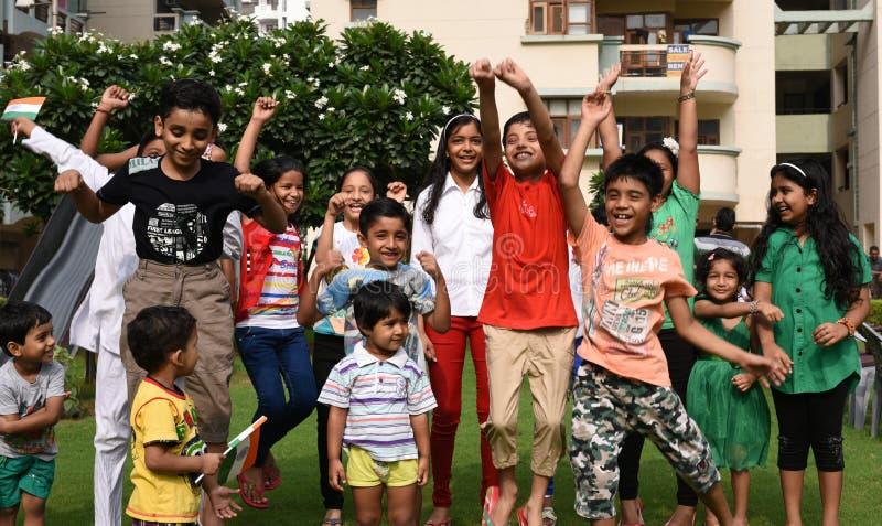 Gurgaon, Índia: 15 de agosto de 2015: Juventude da Índia que comemora e que tem o divertimento no 69th Dia da Independência de Ín fotografia de stock