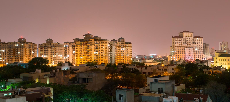 Gurgaon, ορίζοντας της Ινδίας στοκ εικόνες