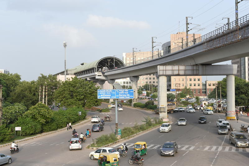 Gurgaon, Delhi, India: August 22nd 2015: Modern infrastructure offering better connectivity to public. City is well connected with modern roads, metro and royalty free stock photos