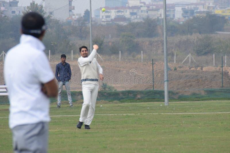 Gurgaon India - 2019年3月3日:明日田野全长板球运动员,田野运动员 免版税图库摄影