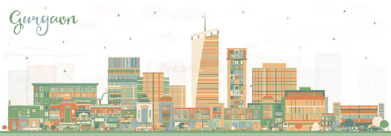 Gurgaon India City Skyline with Color Buildings. Vector Illustration. Business Travel and Tourism Concept with Modern Architecture. Gurgaon Cityscape with stock illustration