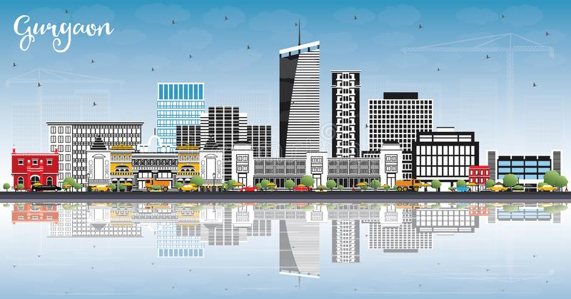 Gurgaon India City Skyline with Gray Buildings, Blue Sky and Ref. Lections. Vector Illustration. Business Travel and Tourism Concept with Modern Architecture vector illustration