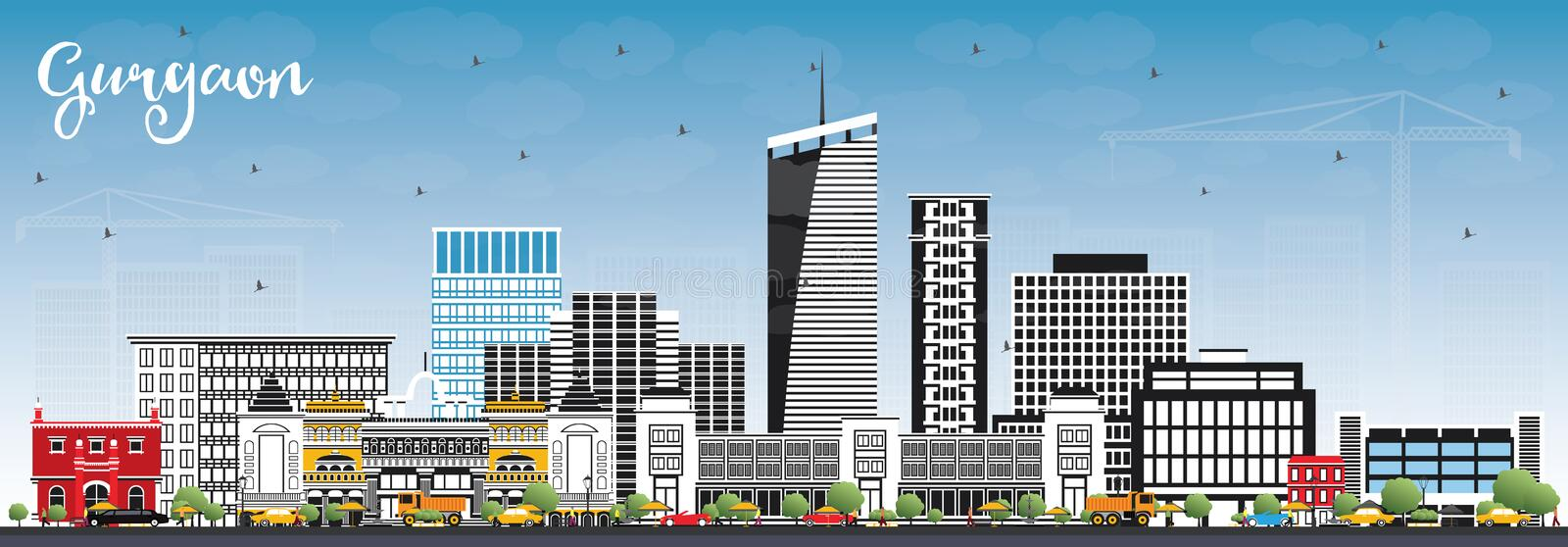 Gurgaon India City Skyline with Gray Buildings and Blue Sky. Vector Illustration. Business Travel and Tourism Concept with Modern Architecture. Gurgaon royalty free illustration