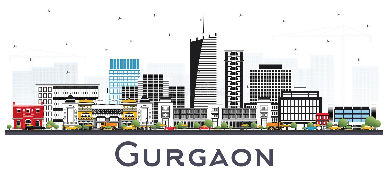Gurgaon India City Skyline with Gray Buildings Isolated on White. Vector Illustration. Business Travel and Tourism Concept with Modern Architecture. Gurgaon vector illustration