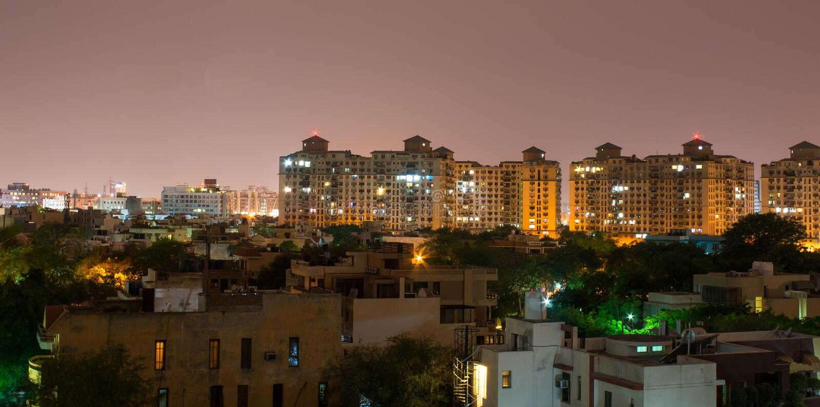 Gurgaon, India skyline. Skyscrapers in Gurgaon india. The rapid development in India is most evident in urban areas like gurgaon royalty free stock image