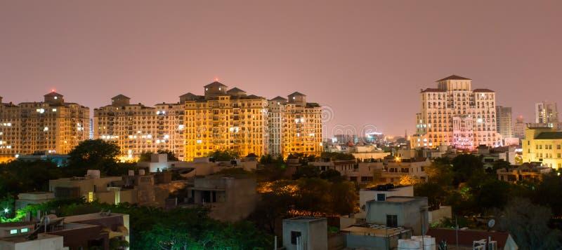 Gurgaon Indien horisont arkivfoto
