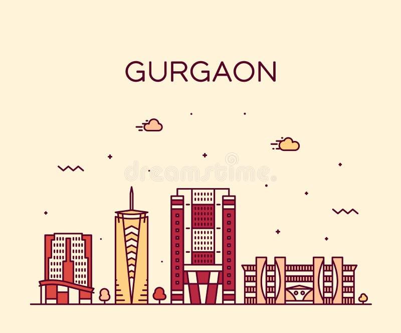 Gurgaon linia horyzontu Haryana India wektorowy liniowy styl royalty ilustracja