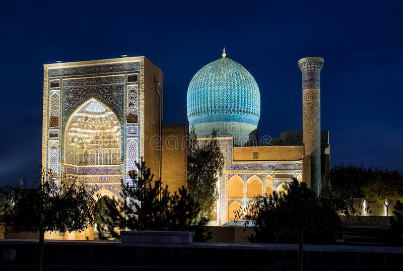 Guri Amir in Samarkand at night stock photo