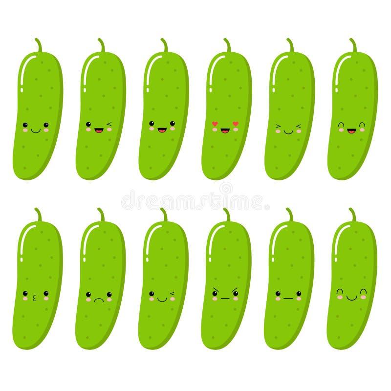 gurka Grönsakmatbegrepp Emoji Emoticonsamling Kawaii stil royaltyfri illustrationer