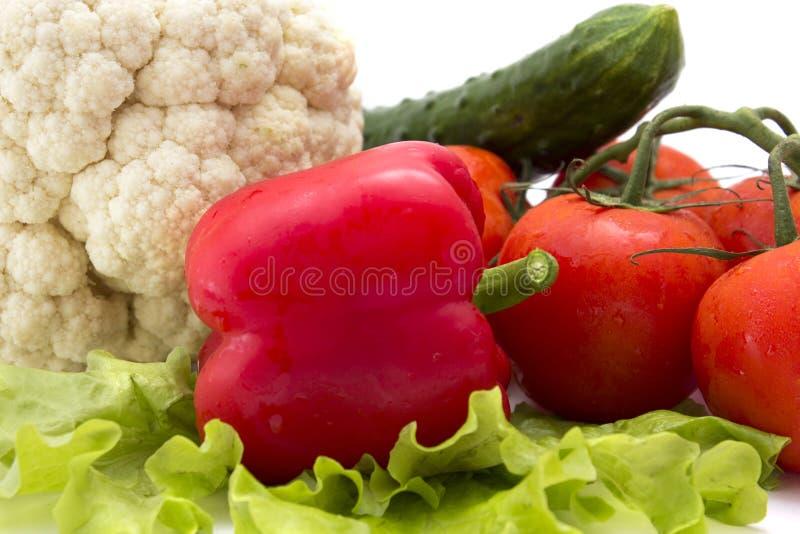 Gurken, Tomaten, Pfeffer, Kopfsalat, Blumenkohl lizenzfreies stockfoto