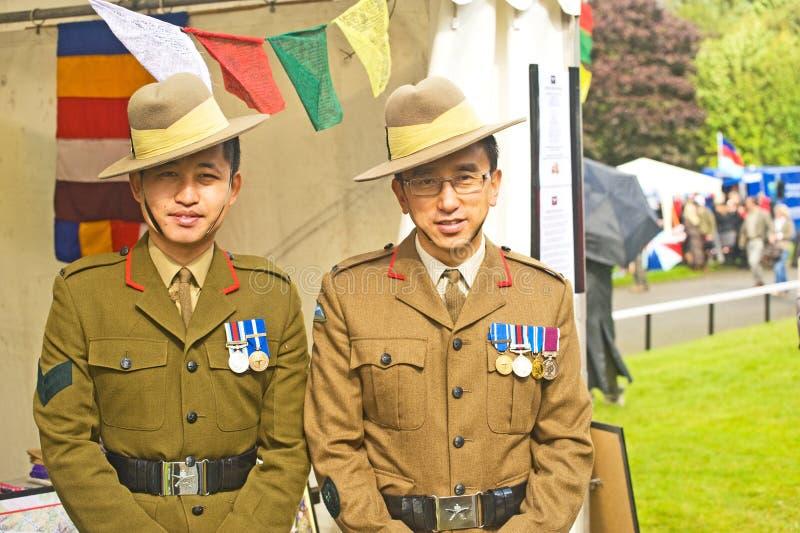 Gurkhas que levantan la ayuda para la confianza del bienestar del Gurkha. fotografía de archivo libre de regalías