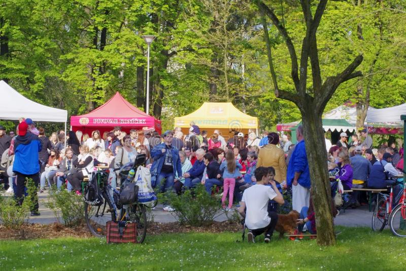 Gurman Fest 2017. Gurmán fest, the first Frýdek-Místek Festival of Good Food, Drinking and Music, was held on Saturday, May 6, in Bedřich Smetana`s stock photography