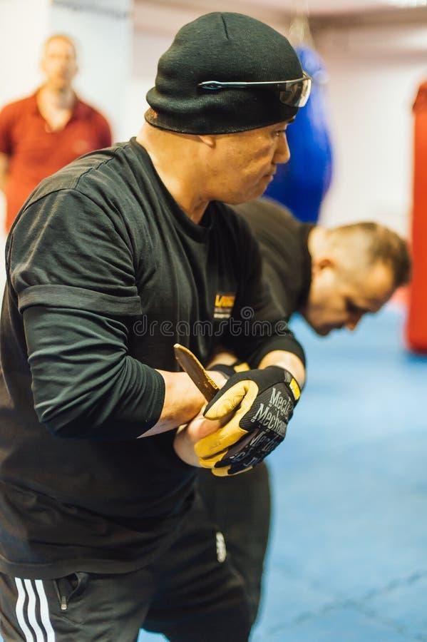 Guro Roger Agbulos Lameco Astig Combative FMA Seminar Belgrade. BELGRADE, SERBIA - 28. MAY 2017. Guro Roger Agbulos Lameco Astig Combative Seminar. Filipino stock photo