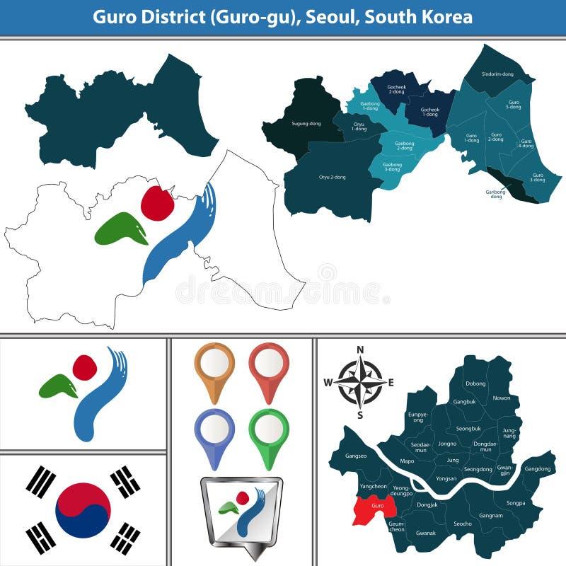 Gurodistrict, de Stad van Seoel, Zuid-Korea royalty-vrije illustratie