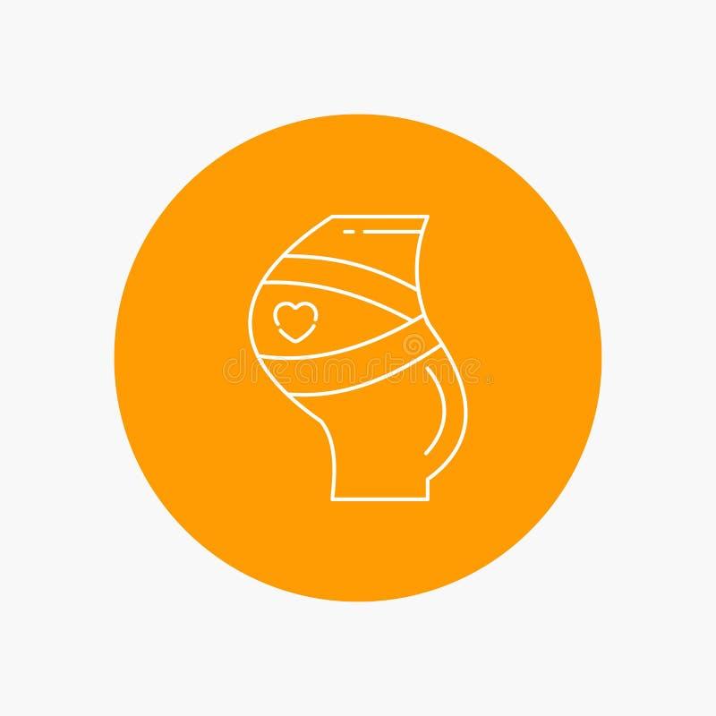 Gurt, Sicherheit, Schwangerschaft, schwanger, Frauen weiße Linie Ikone im Kreishintergrund Vektorikonenillustration lizenzfreie abbildung
