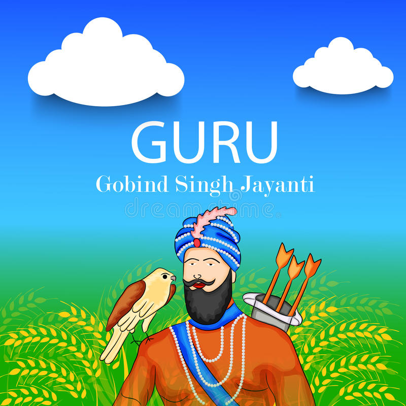 Guru Gobind Singh Jayanti. Illustration of a Banner for Guru Gobind Singh Jayanti stock illustration