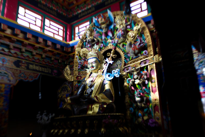 Guru Rinpoche or Padmasambhava Statues. Padmasambhava, or Padmakara `byung gnas, in Sanskrit transliteration means 'Lotus-born', which refers to royalty free stock photos
