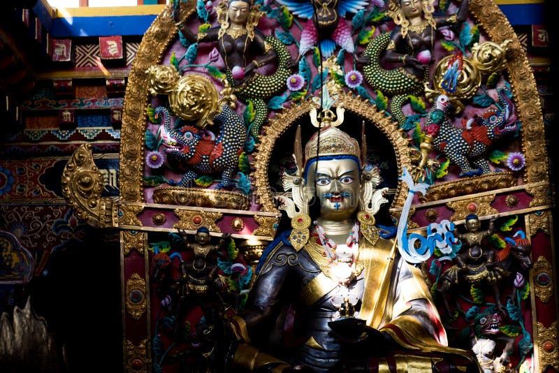 Guru Rinpoche or Padmasambhava Statues. Padmasambhava, or Padmakara `byung gnas, in Sanskrit transliteration means 'Lotus-born', which refers to royalty free stock images