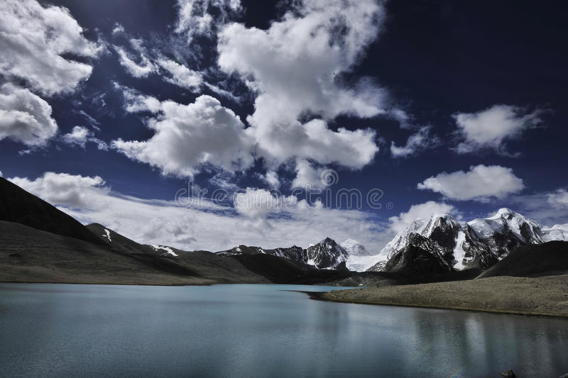 Gurudangmar Lake, North Sikkim, India. Gurudangmar Lake in North Sikkim, India, located 17,000 feet above sea level, one of the highest lake in the world royalty free stock images