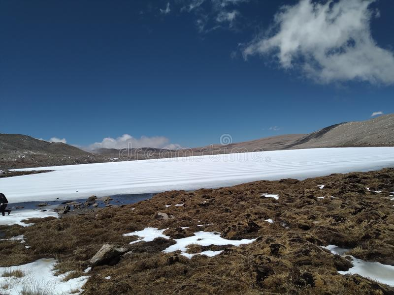 Frozen Gurudongmar lake located in North Sikkim royalty free stock images