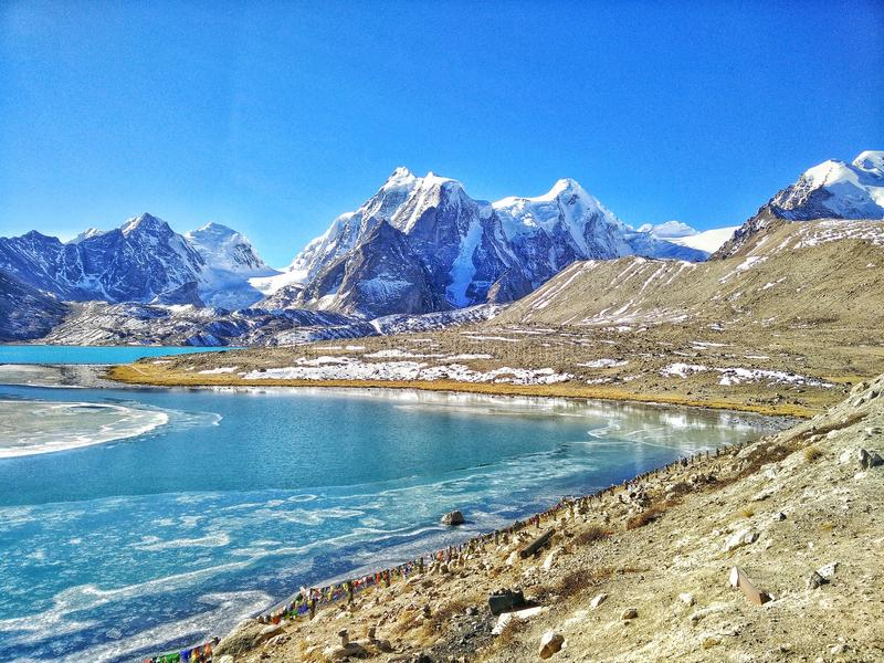 Gurudongmar See Sikkim stockfotografie