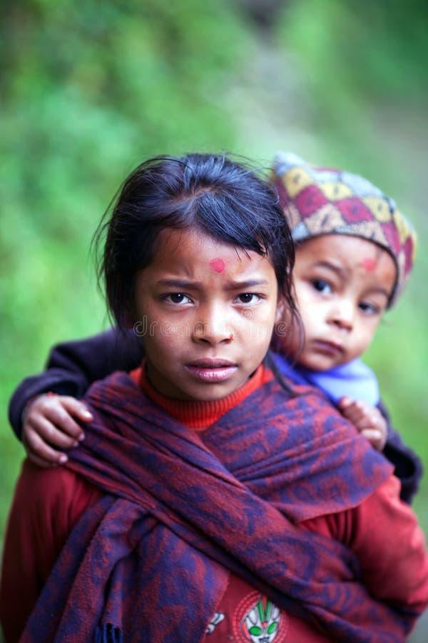 Gurungkinderen, Nepal royalty-vrije stock fotografie