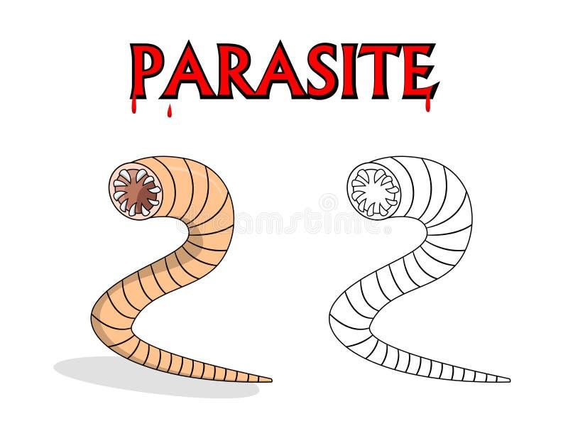 Gusanos parásitos del nematodo en diseño de la historieta del vector libre illustration