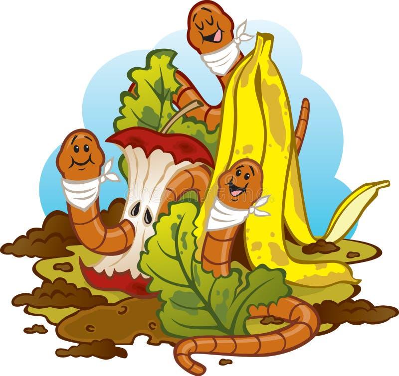 Gusanos que comen el estiércol vegetal (Vermicomposting) libre illustration
