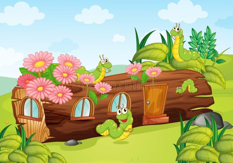 Gusanos y casa de madera ilustración del vector
