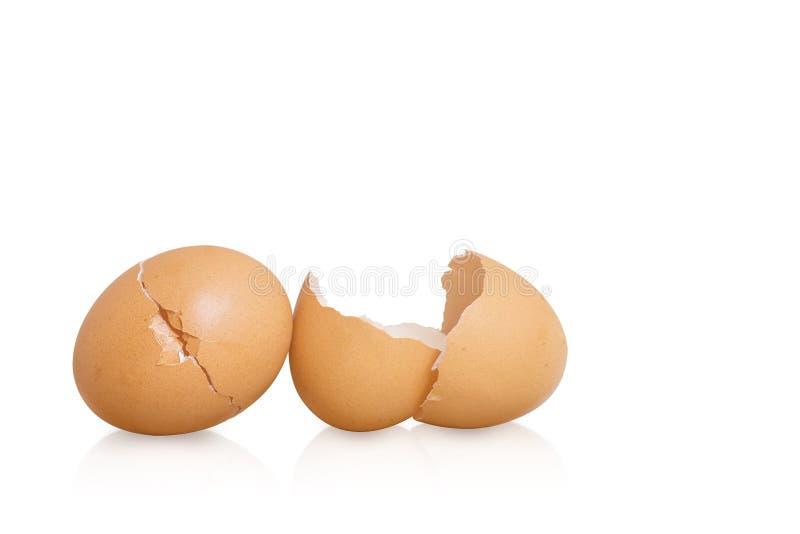 Guscio d'uovo incrinato su fondo bianco immagini stock
