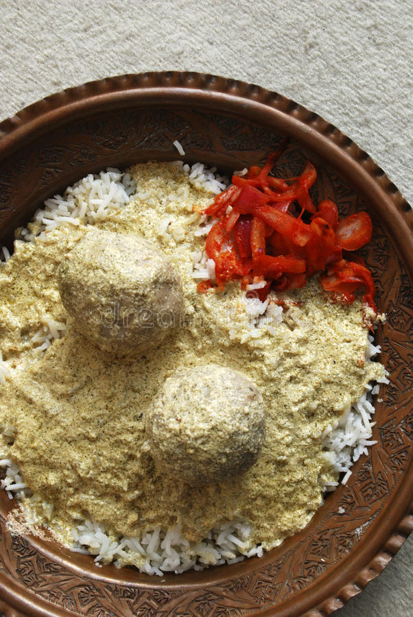 Gushtba meatballs with Rice from India royalty free stock image