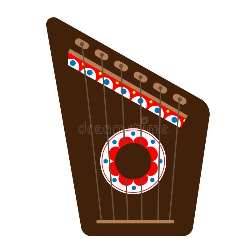 Gusli颜色象 俄国古代弦乐器 向量例证
